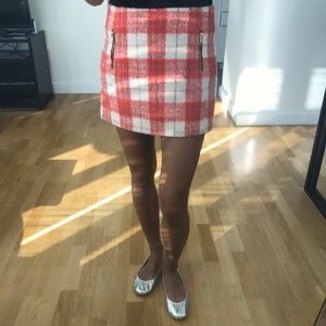 Topshop plaid checkered Mini Skirt w side zippers